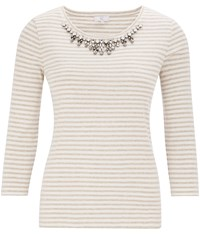 Cc Jewel Necklace Stripe Jersey Top Beige