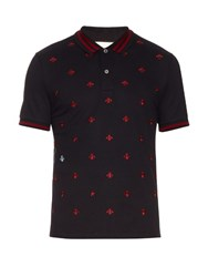 Gucci Bee And Star Embroidered Cotton Polo Shirt Navy Multi