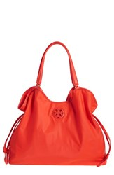 Tory Burch Slouchy Nylon Tote Red Poppy Red