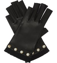Gucci Pearl Detail Leather Fingerless Gloves Blk