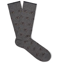 Marcoliani Bicycle Patterned Merino Wool Blend Socks Dark Gray