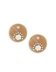 Kate Spade Crystal Accented Statement Stud Earrings Brown