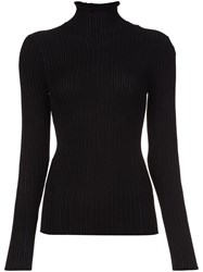 Derek Lam Ruffle Neck Fine Knit Jumper Black