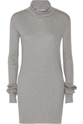 Helmut Lang Ribbed Cotton And Angora Blend Turtleneck Sweater