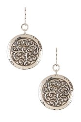 Lois Hill Sterling Silver Round Repousse Drop Earrings Metallic