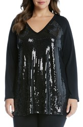 Karen Kane Plus Size Women's Sequin Front Top