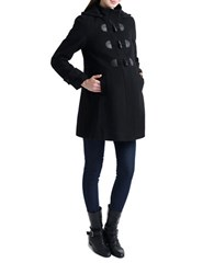 Kimi Kai Maternity Wool Blend Duffle Toggle Coat Black