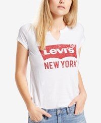 Levi's Graphic Split Neck City T Shirt White New York