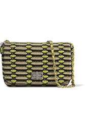 M Missoni Leather Trimmed Crochet Knit Shoulder Bag Yellow