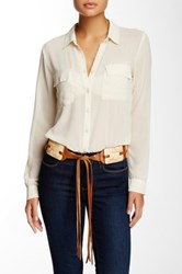 Streets Ahead Leather Tie Belt With Shell Ornaments Beige