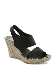 Andre Assous Reese Suede Platform Wedge Sandals Black Metallic
