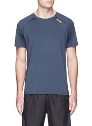 2Xu 'Urban' Reflective Logo Print Performance T Shirt Blue