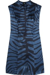 Topshop Unique Printed Silk Jacquard Dress Blue