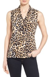 Women's Anne Klein Leopard Print Pleat V Neck Top