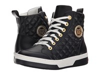 Love Moschino High Top Sneaker W Gold Emblem Black Women's Lace Up Boots