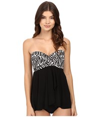 Miraclesuit Between The Pleats Cadiz Tankini Top Black White Women's Swimwear
