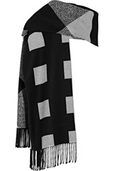 Burberry London Reversible Checked Cashmere Scarf Black