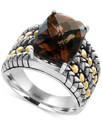 Effy Smokey Quartz Statement Ring 6 Ct. T.W. In Sterling Silver And 18K Gold Brown