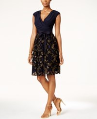 Si Fashions Sl Surplice Glitter Embellished Sash Dress Navy Gold