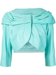 Boutique Moschino Draped Collar Jacket Blue