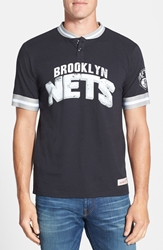 Mitchell And Ness 'Brooklyn Nets Game Ball' Tailored Fit Short Sleeve Henley Black