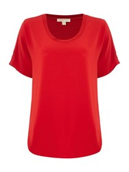 Michael Kors Cowl Neck Short Sleeve Top Red