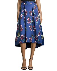 Phoebe Couture Midi Floral Print High Low Skirt