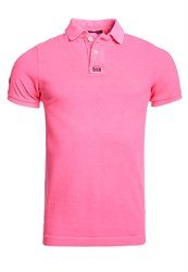 Superdry New Vintage Destroyed Pique Polo Shirt Pink