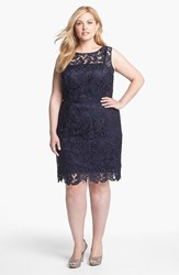 Plus Size Women's Adrianna Papell Sleeveless Lace Dress Navy