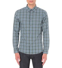 Michael Kors Romeo Check Print Slim Fit Cotton Shirt Pine