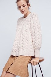 Anthropologie Hand Knit Wool Pullover White