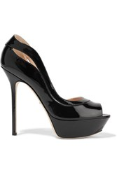 Sergio Rossi Yin Yang Cutout Patent Leather Platform Sandals Black
