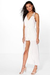 Boohoo Strappy Striped Maxi Overlay Playsuit Ivory