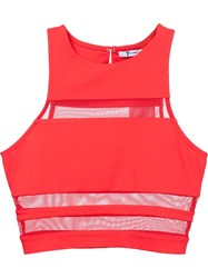 T By Alexander Wang Sheer Stripe Top Red