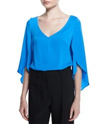 Milly Silk V Neck Butterfly Sleeve Blouse Blue