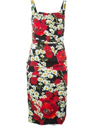 Dolce And Gabbana Daisy And Poppy Print Dress Black