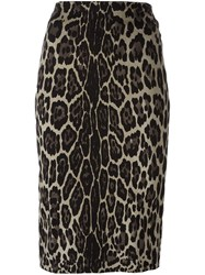 Samantha Sung Animal Print Pencil Skirt Black