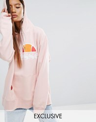 Ellesse Extreme Oversized Hoodie With Washed Logo Rosette Pink