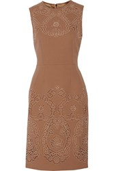Dolce And Gabbana Broderie Anglaise Wool And Cotton Blend Dress Brown