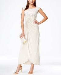 Connected Petite Embellished Lace Faux Wrap Gown