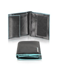 Piquadro Blue Square Men's Leather Id Wallet Black