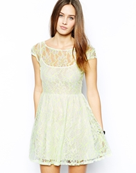 Motel Bumble Bee Lace Skater Dress With Neon Highlights Wylacefe