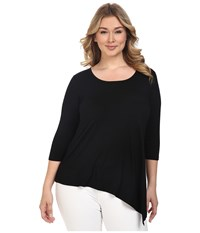 Karen Kane Plus Size Asymmetrical Hem Tee Black Off White Women's T Shirt Multi