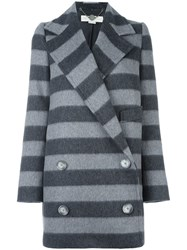 Stella Mccartney Striped Coat Grey