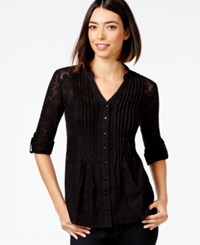 Styleandco. Style And Co. Pintucked Button Front Lace Blouse Only At Macy's Deep Black