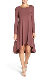Eileen Fisher Women's Jersey Asymmetrical Hem Ballet Neck Shift Dress Mahogany