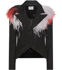Hillier Bartley Feather Trimmed Wool Jacket Black