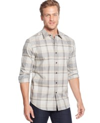 Tasso Elba Big And Tall Moors Long Sleeve Plaid Shirt Oatmeal Combo
