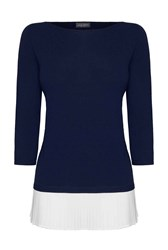 James Lakeland Pleated Knit Shirt Jumper Navy
