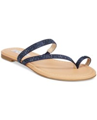 Inc International Concepts Women's Mistye Rhinestone Thong Flat Sandals Only At Macy's Women's Shoes Eclipse Blue
